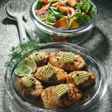 Kabeljau-Koteletts mit Kräuterbutter Rezept