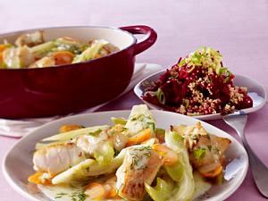 Kabeljaugulasch mit Rote-Bete Hirse Salat Rezept