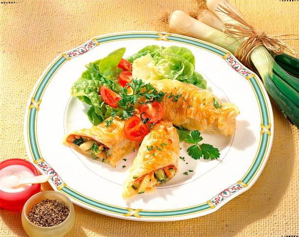 Käse-Gemüse-Röllchen Rezept