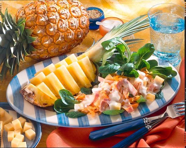 Käse-Schinken-Salat mit Ananas Rezept