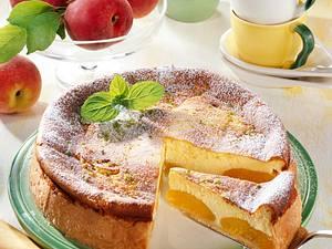 Käsekuchen mit Pfirsichen Rezept