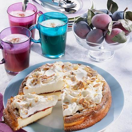 Käsekuchen mit Pflaumenmus & Sahne Rezept