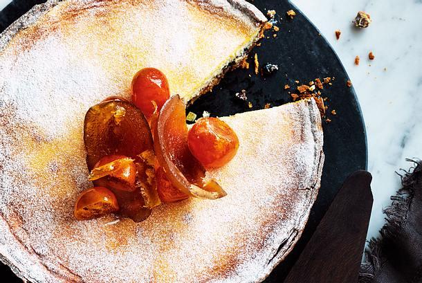 Käsekuchen Stracciatella mit Orangeat Rezept
