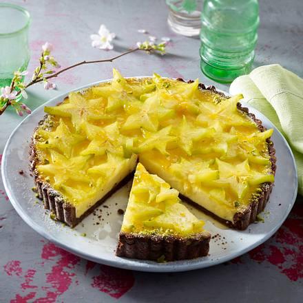 Käsekuchentarte mit Sternfruchthaube Rezept