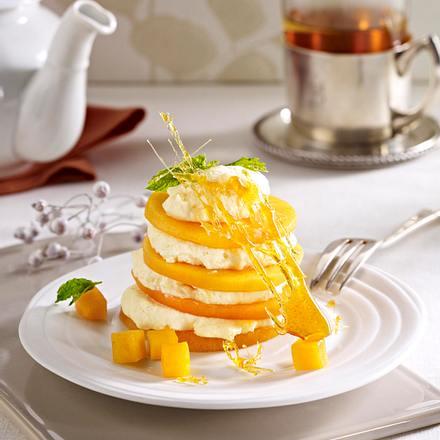 Kaki-Türmchen mit Vanillecreme Rezept