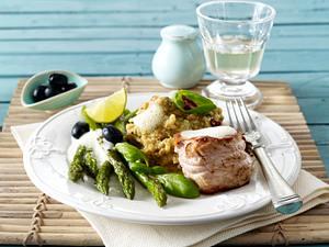 Kalbsrückenmedaillons mit mediterranem Kartoffelpüree, grünem Spargel und Limettensoße (VOX Promi Dinner Patrick Bach) Rezept