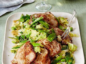 Kalbsschnitzel mit grünem Gemüse Rezept