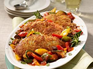 Kalbsschnitzel mit Pecorinokruste auf Ratatouille-Gemüse Rezept