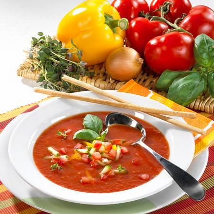 Kalte Paprika-Tomatensuppe Rezept