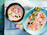Kalte Radieschensuppe mit roten Linsen Rezept