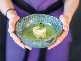 Kaltes Gurkensüppchen mit Fischröllchen Rezept
