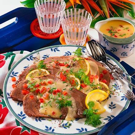 Kaltes Rindfleisch mit Kartoffel-Vinaigrette Rezept