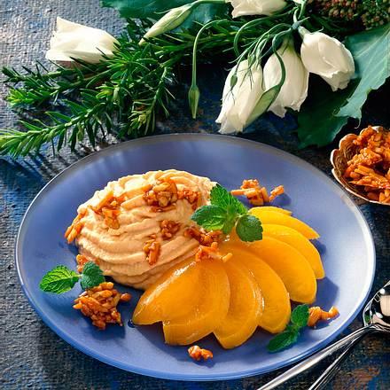 Karamell-Creme mit Pfirsich Rezept
