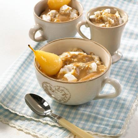 Karamell-Pudding mit Eischneeflöckchen Rezept