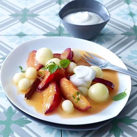 Karamellfrüchte mit Vanillecreme Rezept