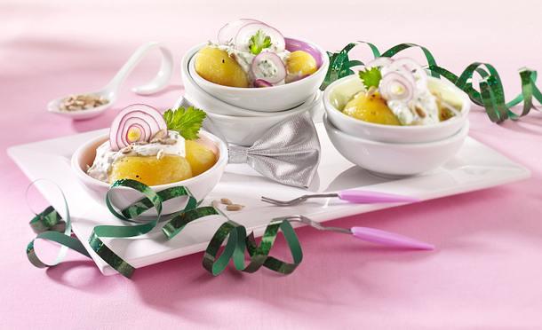 Karamellisierte Kartoffeln mit Kräuterquark Rezept