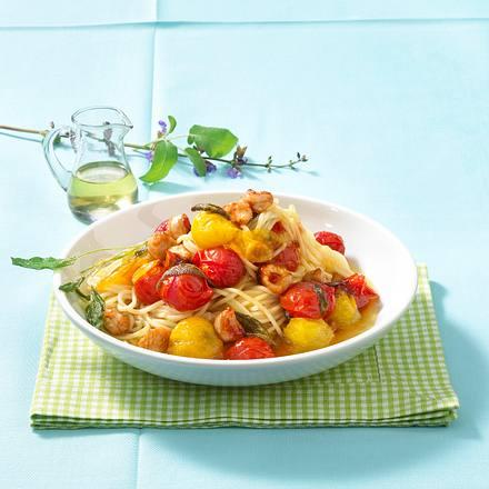 Karamellisierte Kirschtomaten mit Spaghetti und Putenbruststreifen Rezept
