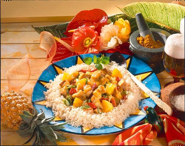 Karibischer Fleischtopf mit Reis Rezept
