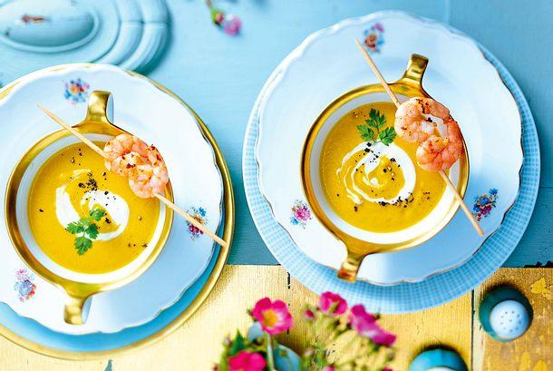 Karotten-Ingwer-Suppe mit Garnelen Rezept