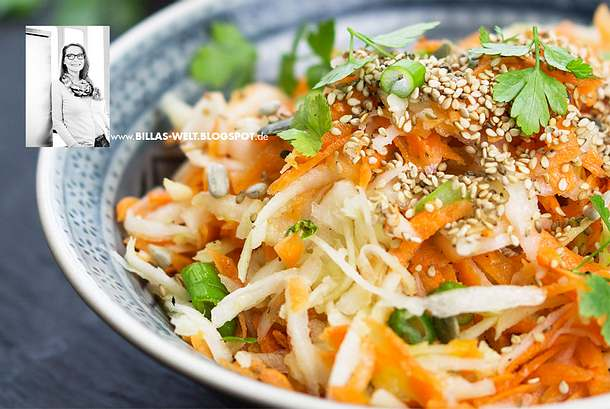 Karotten-Kohlrabi-Salat mit Sesam und Koriander Rezept