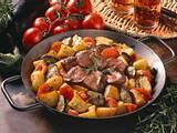Kartoffel-Auberginen-Pfanne mit Lamm Rezept