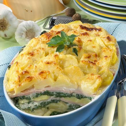 Kartoffel-Auflauf mit gekochtem Schinken und Blattspinat Rezept