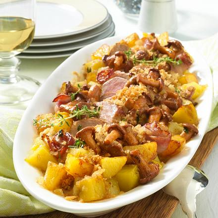 Kartoffel-Auflauf mit Pfifferlingsrahm Rezept