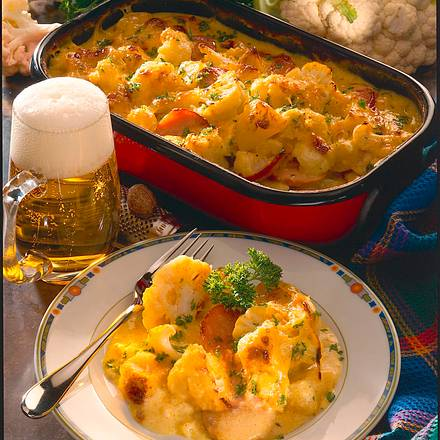 Kartoffel-Blumenkohl-Auflauf mit Käsebechamel Rezept