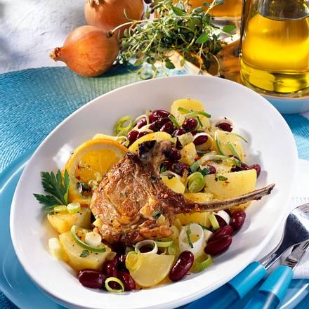 Kartoffel-Bohnen-Salat zu Lammstielkoteletts Rezept