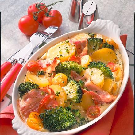 Kartoffel-Broccoli-Auflauf mit Speck Rezept