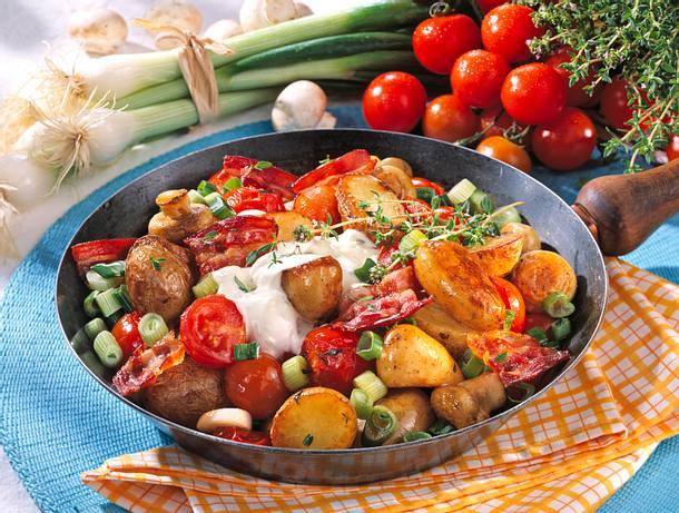 Kartoffel-Champignon-Pfanne mit Knusperspeck Rezept
