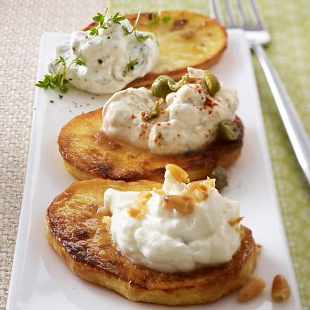 Kartoffel-Crostini mit Frischkäsedips Rezept