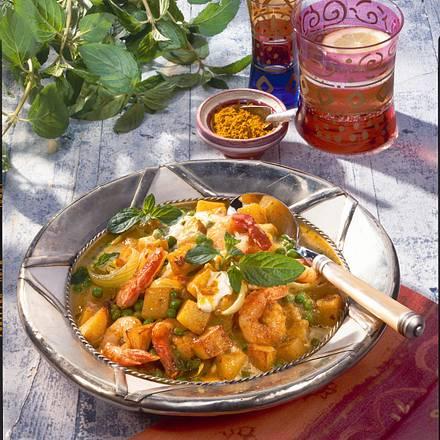 Kartoffel-Curry mit gebratenen Garnelen Rezept