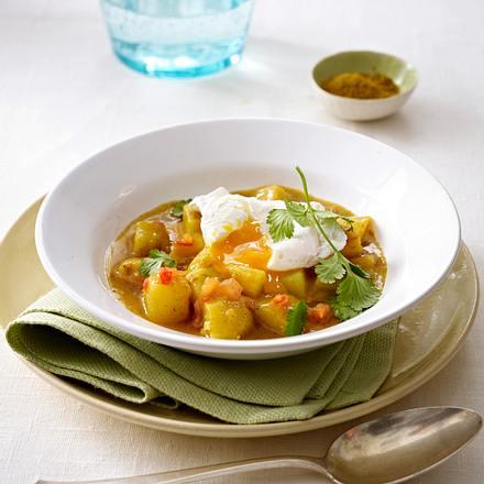 Kartoffel-Curry mit pochiertem Ei Rezept