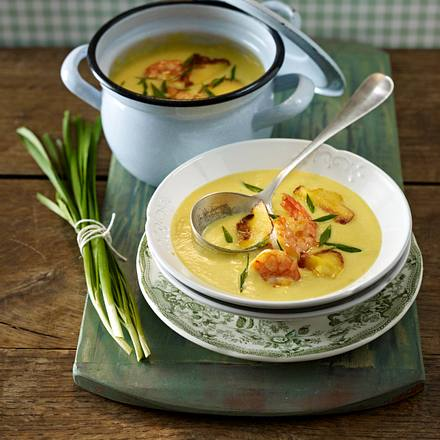 Kartoffel-Currysuppe mit Garnelen Rezept
