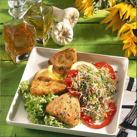 Kartoffel-Ecken und Sprossen-Salat Rezept