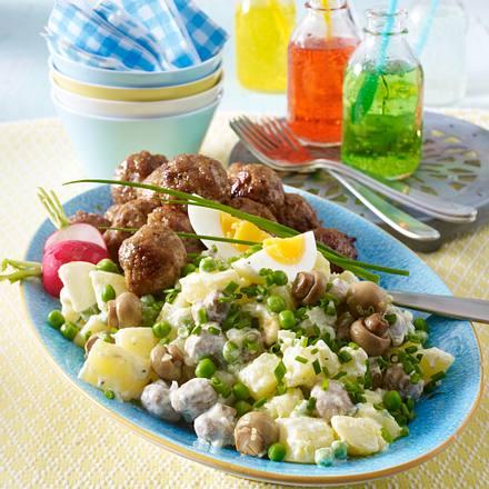 Kartoffel-Eier-Salat mit Hackbällchen Rezept