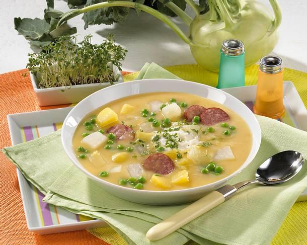 Kartoffel-Erbsen-Eintopf mit Cabanossi Rezept