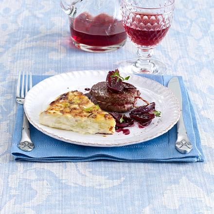 Kartoffel-Fenchel-Gratin mit Filetsteak und Rotwein-Schalotten Rezept