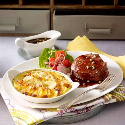 Kartoffel-Fenchel-Gratin mit Pfeffer-Steak Rezept