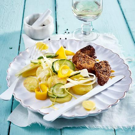 Kartoffel-Fenchelsalat mit Hähnchenschnitzelchen Rezept