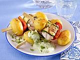 Kartoffel-Fisch-Spieße mit Grüner Soße Rezept