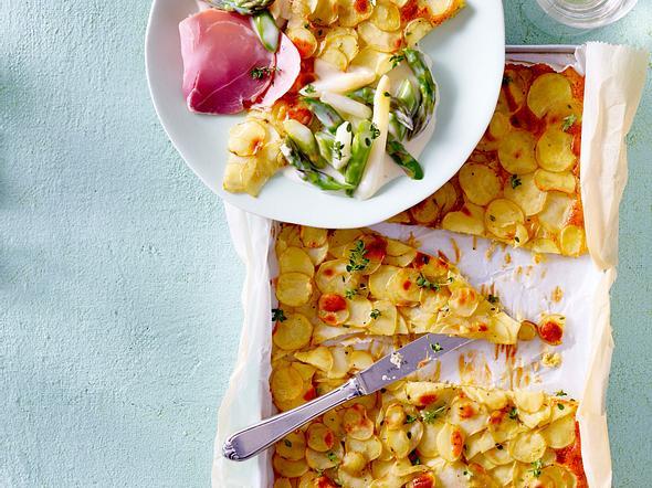 Kartoffel-Galette mit Bechamelspargel und Katenschinken Rezept
