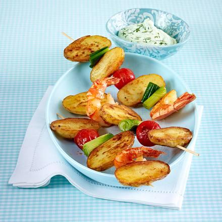 Kartoffel-Garnelen-Spieße mit Wasabi-Dip Rezept