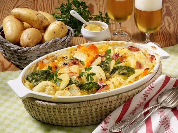 Kartoffel-Gemüse-Auflauf mit Schinken Rezept