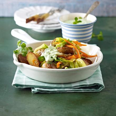 Kartoffel-Gemüse-Pfanne mit grüner Soße Rezept