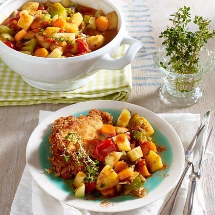 Kartoffel-Gemüse-Ragout zu Parmesan-Schnitzelchen Rezept