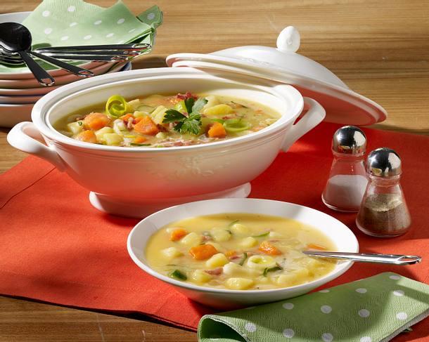 Kartoffel-Gemüsesuppe mit Speck Rezept