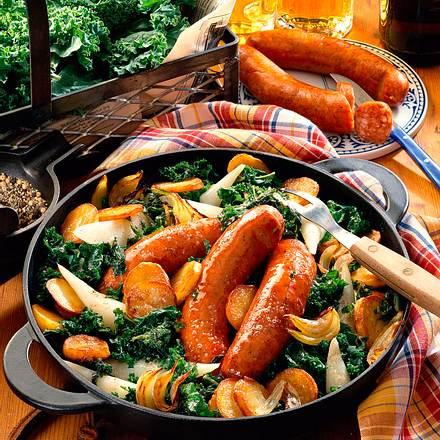 Kartoffel-Grünkohlpfanne mit Teltower Rübchen Rezept