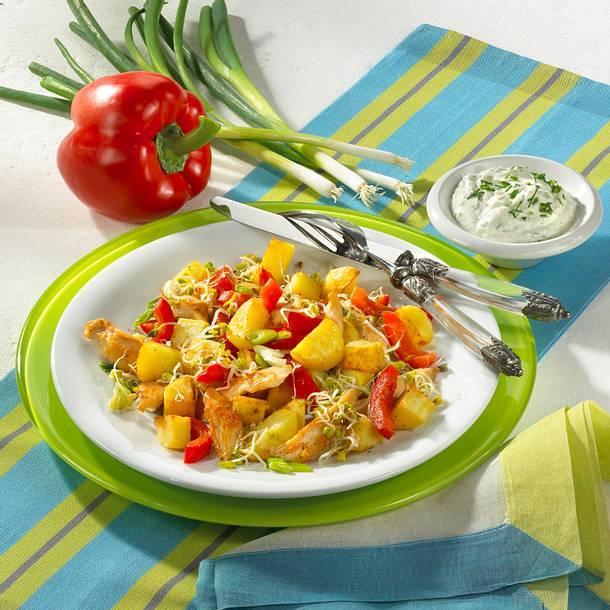 Kartoffel-Hähnchen-Pfanne mit Sprossen Rezept